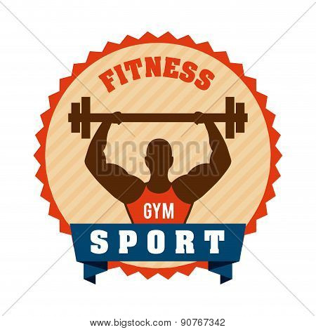 Fitness and sports design over gray background vector illustrati
