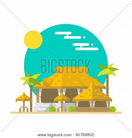 Flat Design Of Beach Bar And Restaurant