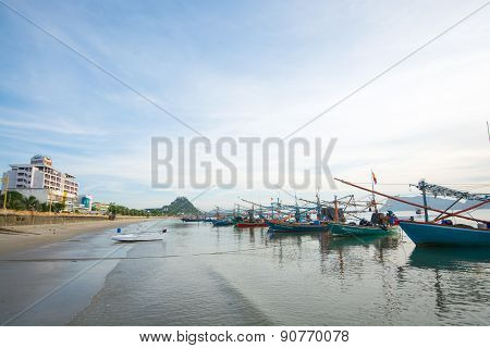 Group Of Fisherman Boats At The Coast