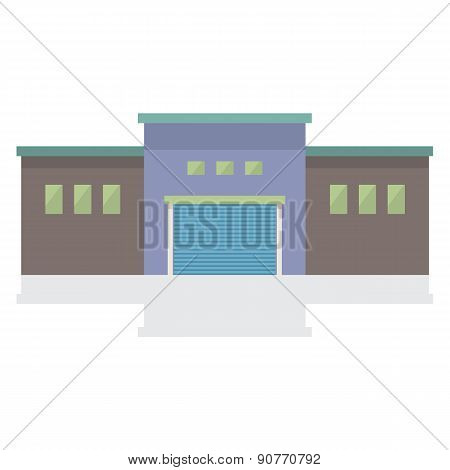 Single Factory Building On White Background.