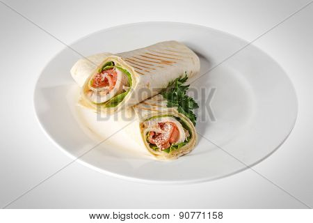 Sandwich pita bread roll with ham