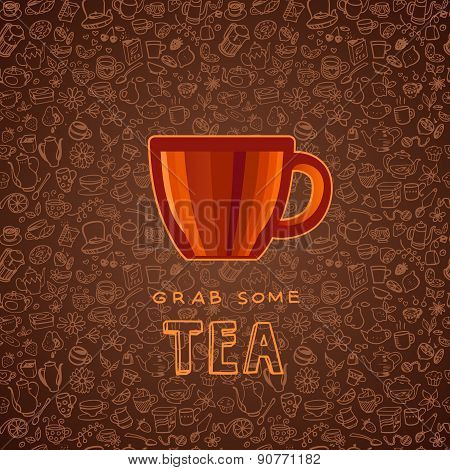 Hand Drawn Tea And Coffee Background