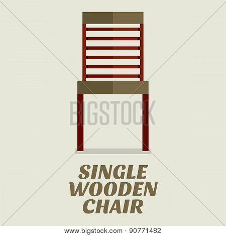 Single Wooden Chair Flat Design.