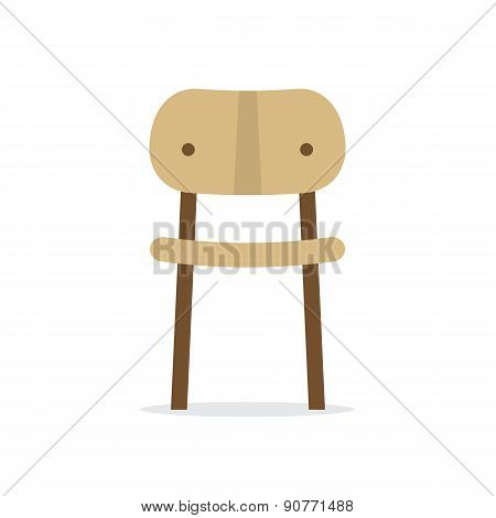 Single Wooden Chair On White Background.