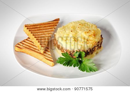 Tasty meat dish with toasts
