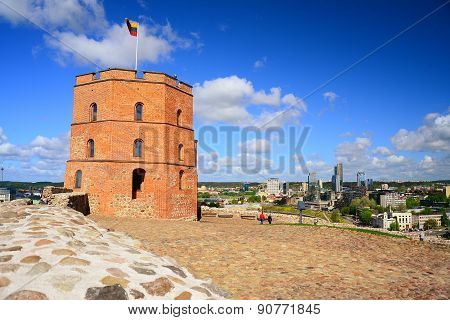 Vilnius Gediminas Castle On The Hill Near Neris River