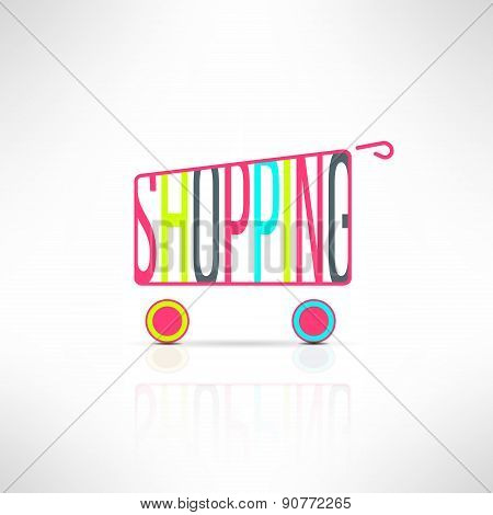 Vector shopping bus symbol. Marketing background. Shopping mall design element