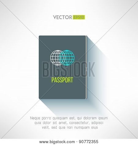 Vector passport in modern flat design. Citizen document id with long shadow. Identification sign and