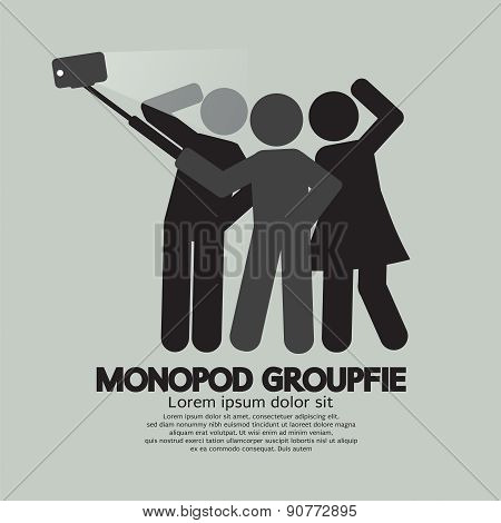 Groupfie Symbol, A Group Selfie Using Monopod.