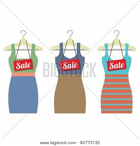Woman Clothes On Hanger With Sale Tags.