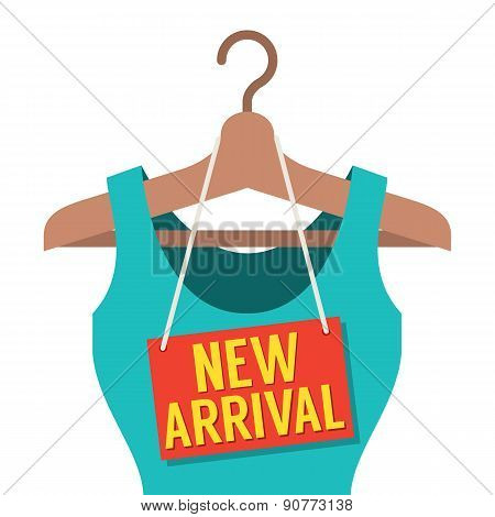 Woman Clothes On Hanger With New Arrival Tag.