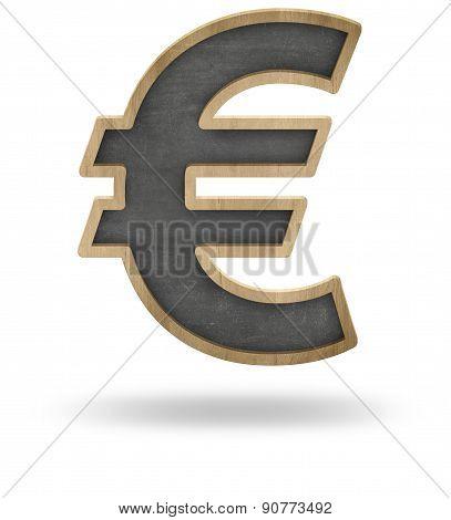 Black blank euro sign shape blackboard
