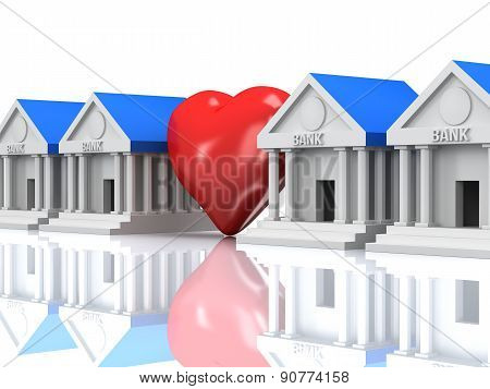 Row Of Bank Buildings And Heart With Reflection. 3D Render.
