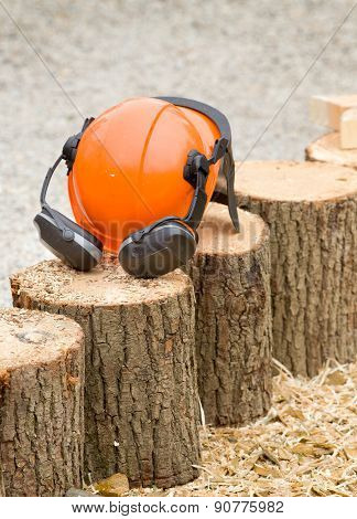 Helmet On Wooden Logs