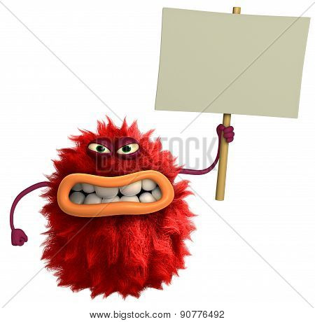 Red Cartoon Hairy Monster 3D with placard