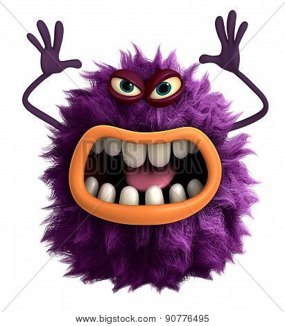 Helloween Purple Cartoon Hairy Monster 3D