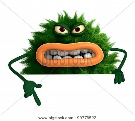 Horror Green Cartoon Hairy Monster 3D
