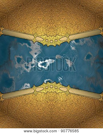 Abstract Blue Background With A Gold Frame