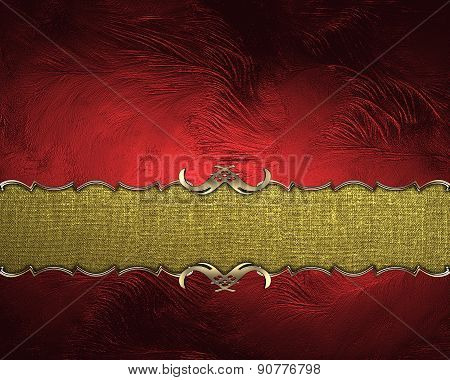 Element Of Red Texture With Gold Nameplate. Design Template. Design For Site