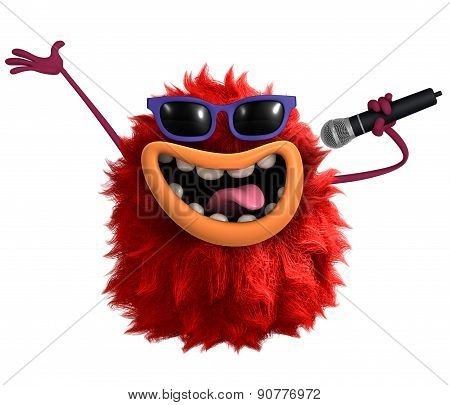 Star Red Cartoon Hairy Monster 3D