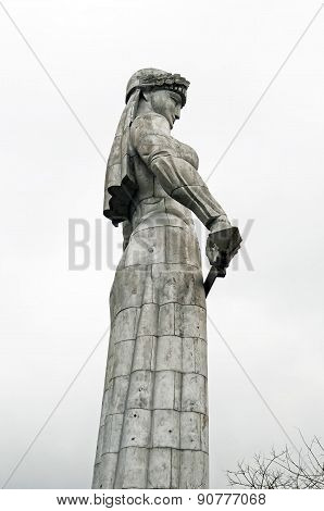 The symbol of Tbilisi - monument Mother Kartli on cloudy day