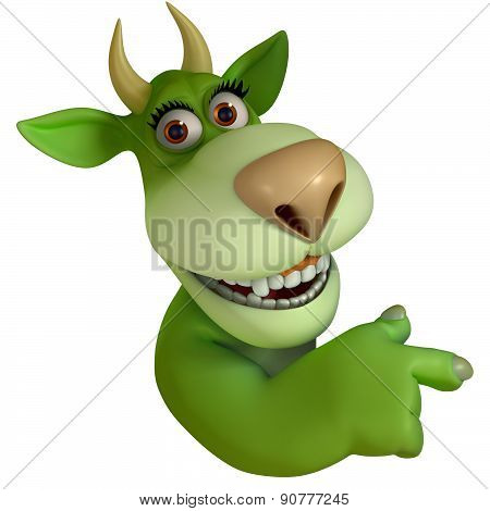 Green Cartoon Teeth Monster 3D