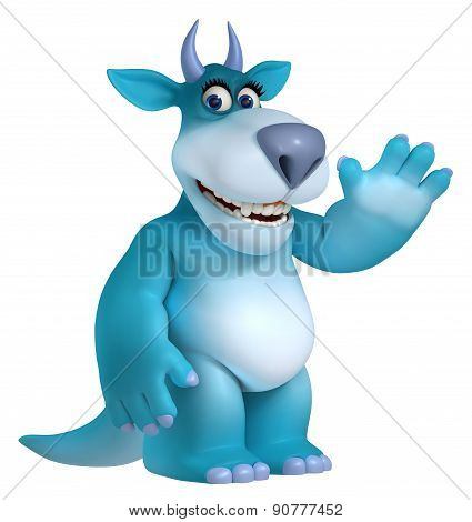 Blue Cartoon Monster Toy 3D
