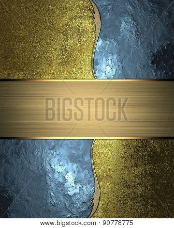 Abstract Blue Background With Gold Pattern And Plate. Design Template