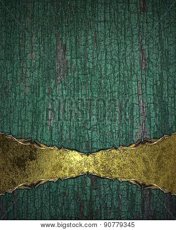 Grunge Wooden Background With A Gold Plate With Gold Trim. Design Template
