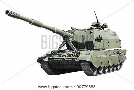 Self-propelled Artillery Class Self-propelled Howitzer Isolated On White Background