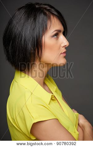 Side view of business woman looking forward