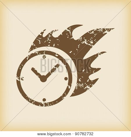 Grungy burning clock icon