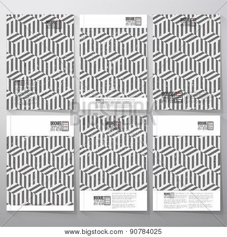 Brochure, flyer or booklet for business, template vector. Recurring cubes on background