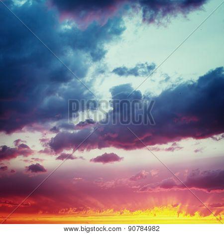 Vanilla Skies. Fantastic Dramatic Sunset Sky.