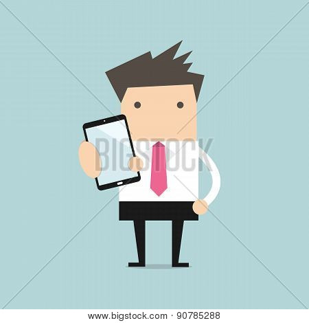 Business man show smart phone