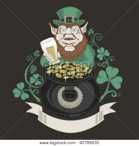 Leprechaun with pot of gold and holding a beer.