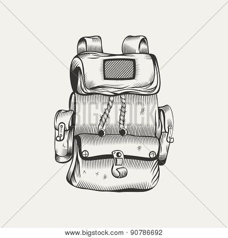 Illustration of hiking backpack.