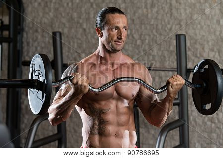 Mature Man Working Out Biceps