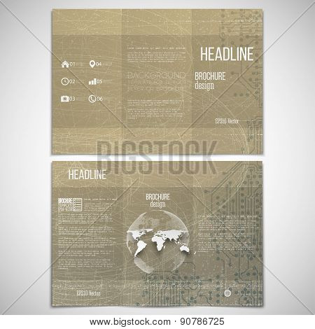 Vector set of tri-fold brochure design template on both sides with world globe element. Abstract tec