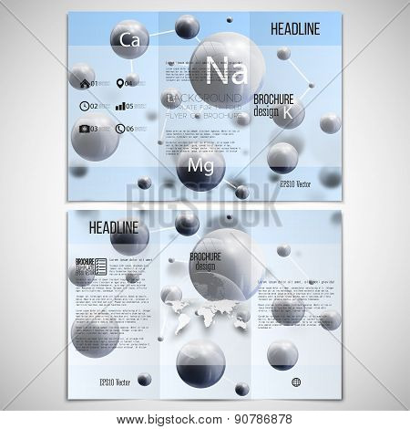 Vector set of tri-fold brochure design template on both sides with world globe element. Three dimens