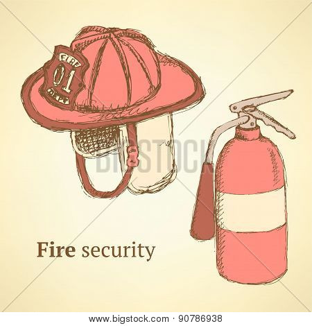 Sketch Fire Helmet And Extinguisher In Vintage Style