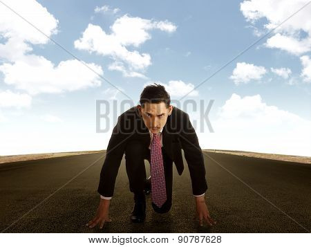 Young Business Man Running On The Street
