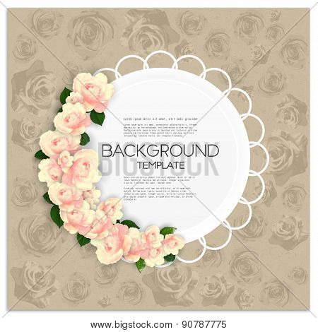 Invitation card with place for text and pink flowers over canvas texture. Vector illustration