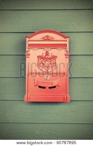 Red Vintage Post Box On Wooden