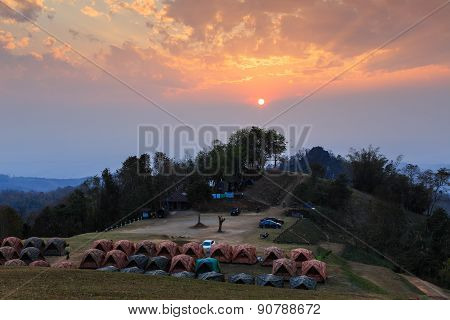 Sunset Over Mountain Camping
