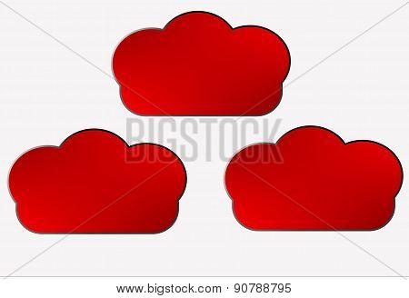 red speech bubbles in the cloud shape