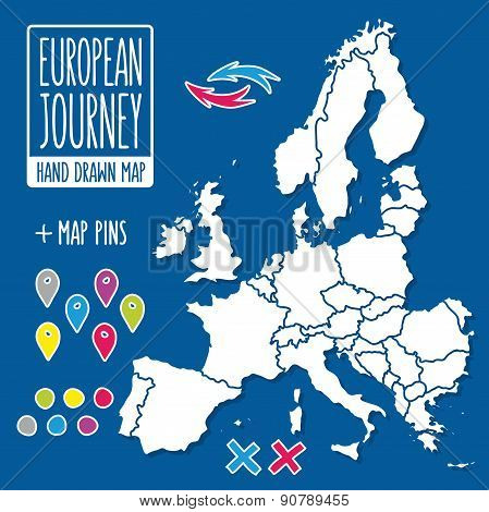 Cartoon style hand drawn journey map of europe with pins vector illustration
