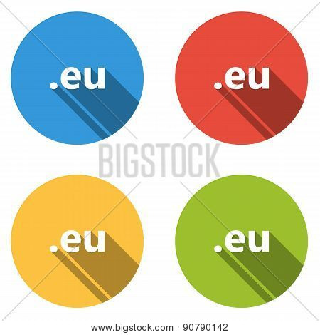 Collection Of 4 Isolated Flat Buttons (icons) For .eu Domain