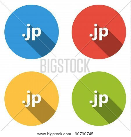 Collection Of 4 Isolated Flat Buttons (icons) For .jp Domain