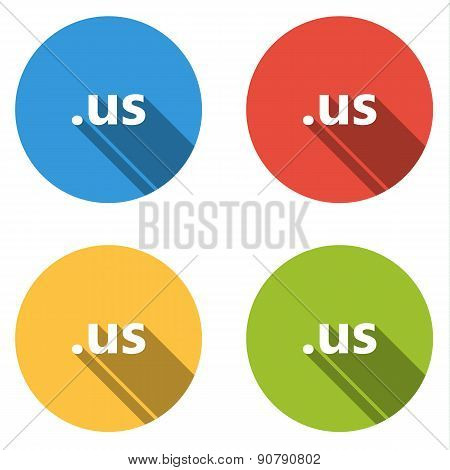 Collection Of 4 Isolated Flat Buttons (icons) For .us Domain